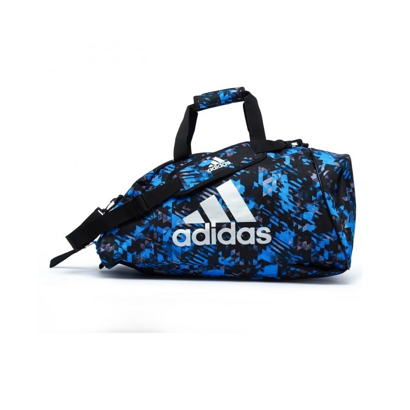 5fdac774b4 Sac de sport de combat adidas Polyester 2 en 1 Bleu Camouflage / Argent