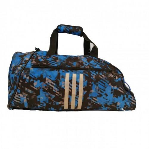 Sac de sport de combat adidas Polyester 2 en 1 Bleu Camouflage / Argent