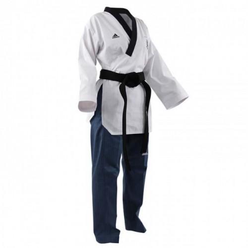 Dobok Adidas Poomsae Taekwondo Femme Blanche/Bleu Clair